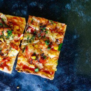 Prepared baguette pizza